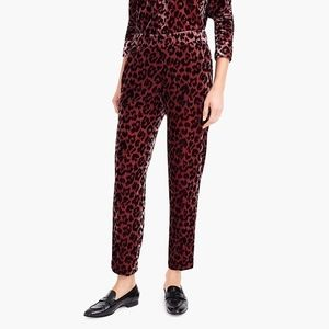 J.Crew Pull on Easy Pant in Rose Leopard Velvet